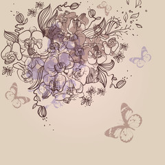vector mix of hand drawn flowers and plants
