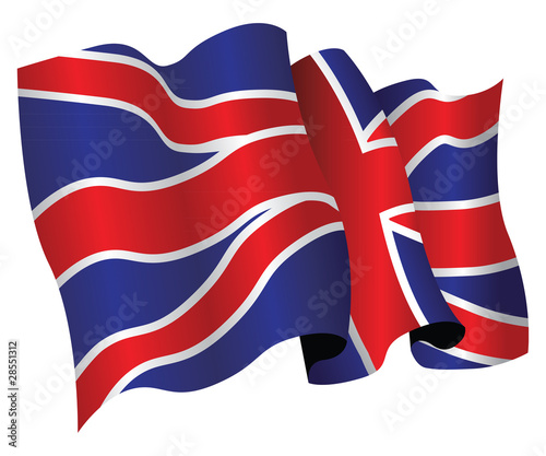 british flag flapping in the wind Stock image and royaltyfree