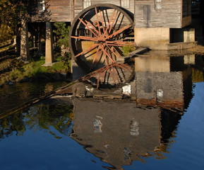 Old Grist Mill reflection in the water