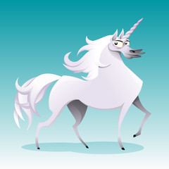Unicorn. Funny cartoon and vector isolated character.