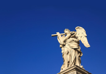 Angel under a blue sky copyspace