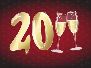 Happy new year 2011 illustration with champagne glasses