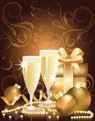 Christmas golden background with champagne and pearls.