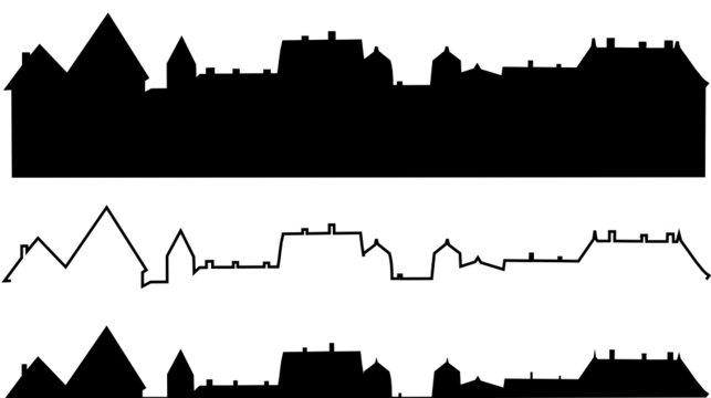 silhouette immeubles ou toitures de ville