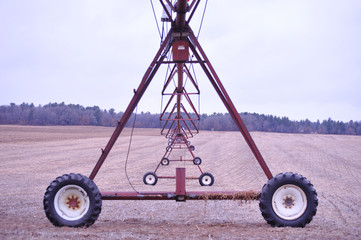 Red Irrigation System - Wheels Straight - After Harvest