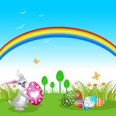 Easter Bunny with a rainbow