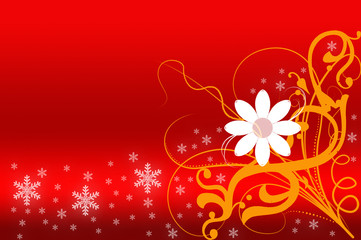 abstract with flower on red background