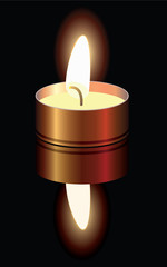 vector illustration of a small burning candle