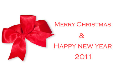 The Red ribbon on merry christmas and happy new year 2011