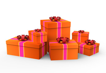 Pile of reddish gift boxes with pink and gold ribbons