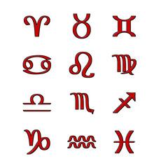 Tierkreiszeichen in Rot 2