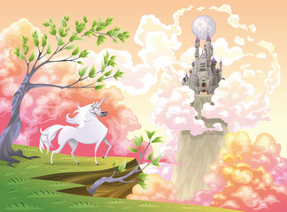 Unicorn and mythological landscape. Vector illustration