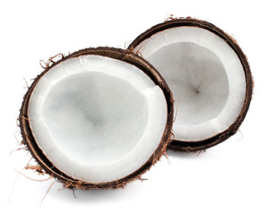 Coconut parts on white