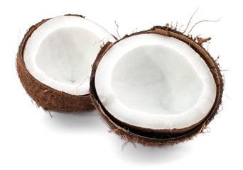 Coconut parts on white background
