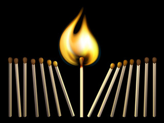 Matchsticks and fire