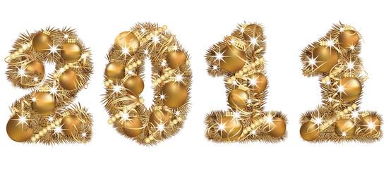 2011 New Year golden banner. vector