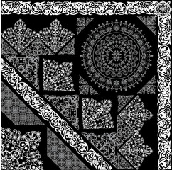 white and grey ornamental elements
