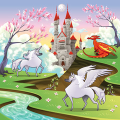 Spoed Fotobehang Kasteel Pegasus, unicorn and dragon in a mythological landscape