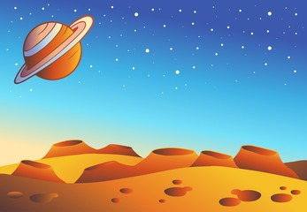 Cartoon red planet landscape