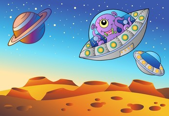 Poster de jardin Creatures Red planet with flying saucers