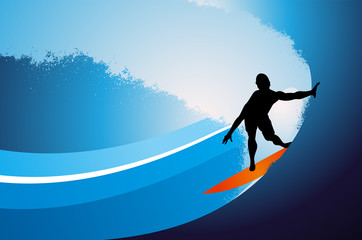 Surfing man vector background with wave