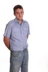 Ordinary guy in a blue shirt and jeans