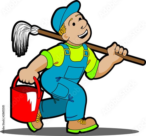 Quot Professional Cleaner Cartoon With Tools Quot Stock Image And
