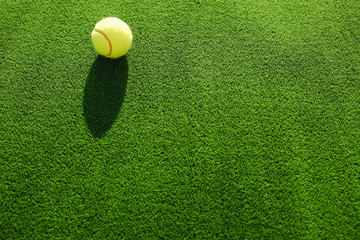 Tennis ball on grass