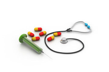 3d rendering stethoscope, syringe and pills