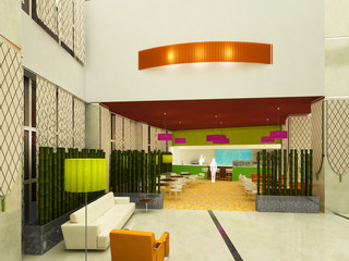 sala d'attesa bar albergo hotel 3d