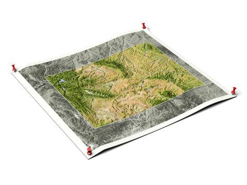 Wyoming on unfolded map sheet.