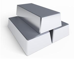 three silver ingots closeup isolated on white