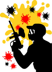Paintball silhouette vector