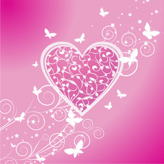 vector pink heart with butterflies