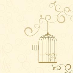 Deurstickers Vogels in kooien vector golden cage