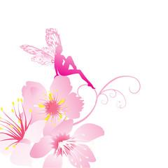 Keuken foto achterwand Magische wereld pink fairy on the flowers vector