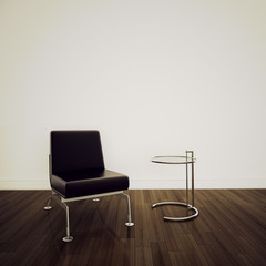 chair in modern comfortable interior 3d