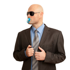 funny bald man in suit with soother