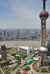 China Shanghai the pearl tower and Puxi skyline