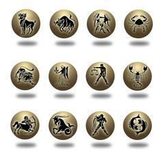 Zodiaco en bolas doradas