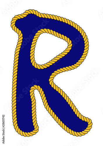 Navy Sailor Style Rope Alphabet Letter R