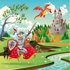 Poster Chateau Panorama with castle, dragon and knight. Vector illustration