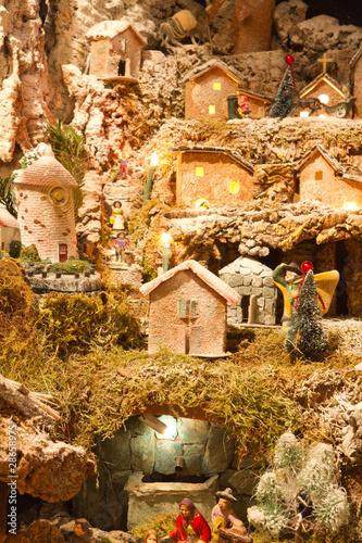 Maquette et maisons de creche de noel photo libre de - Photo creche de noel ...