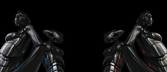 Unusual futuristic metal woman from bottom view