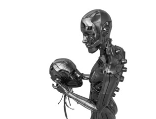 Metal cyborg that holds decapitated head of another cyborg