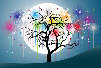 Tree and Colorful Fireworks in the full moon and blue night