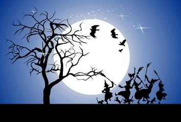 Halloween night, vector illustration