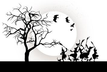 Halloween night, vector illustration