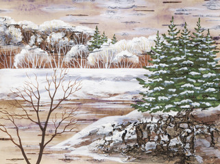 Winter landscape. Handmade, distemper on a birch bark
