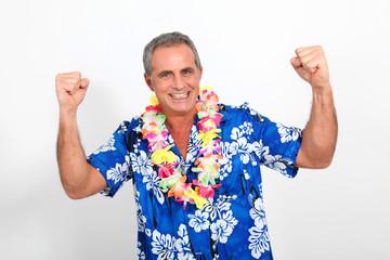 Happy man with hawaiian shirt